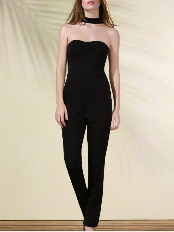 new Cut Out Stand Neck Solid Color Jumpsuit - BLACK L