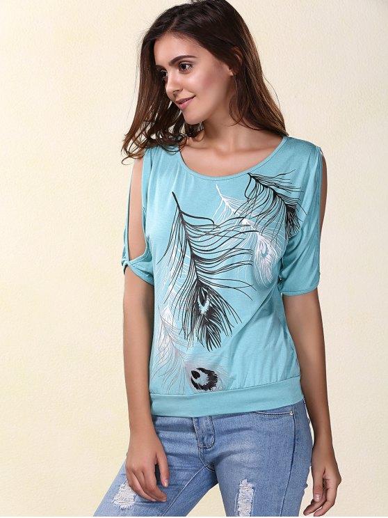 Elegante Pescoço da colher manga curta Fria Shloulder Impresso T-shirt para as Mulheres - Azul Claro M