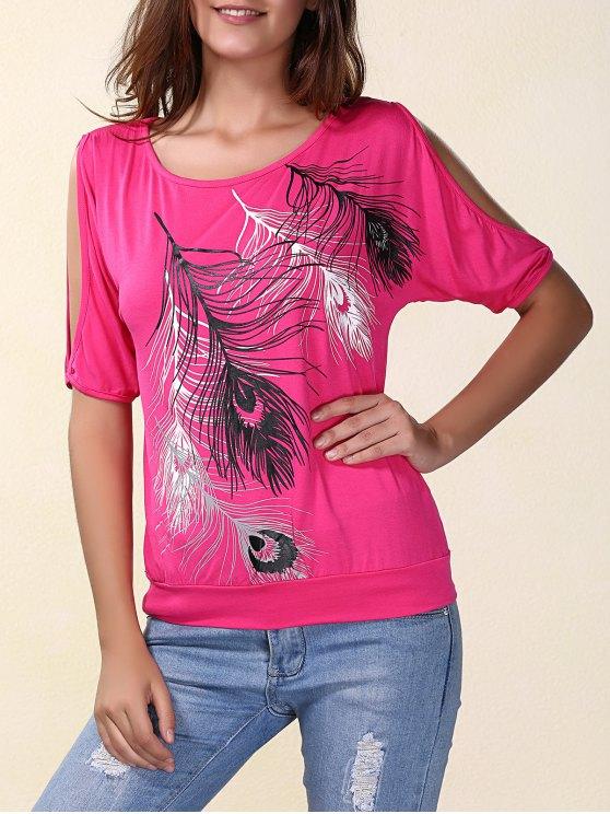 Elegante Pescoço da colher manga curta Fria Shloulder Impresso T-shirt para as Mulheres - Rosa S