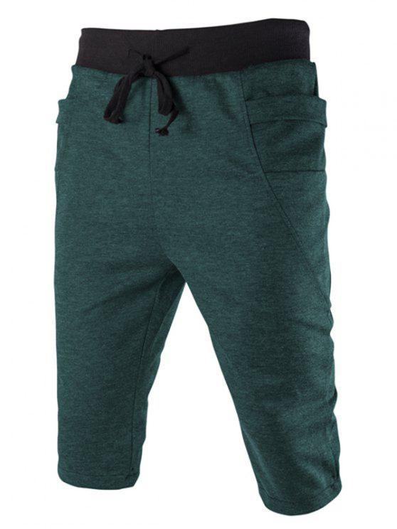 Del bloque del color de la cintura bolsillo lateral con cordones de adelgaza Pantalones cortos para los hombres - Verde M