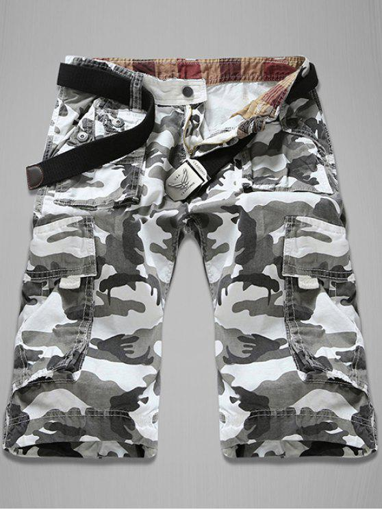 womens Trendy Loose Fit Men's Multi-Pockets Camo Printed Cargo Shorts - WHITE 30