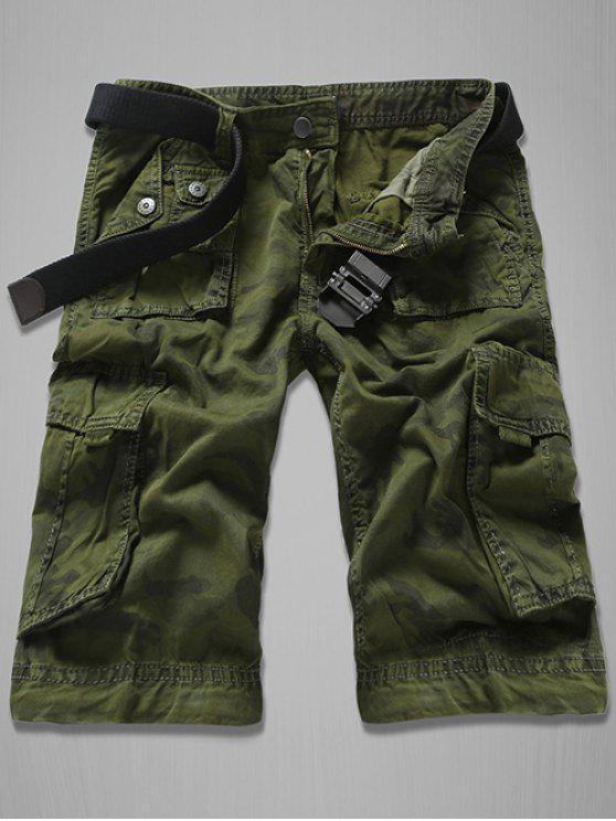 Short Cargo Imprimé Camouflage avec Multi-Poches Pour Homme - Vert Armée 31