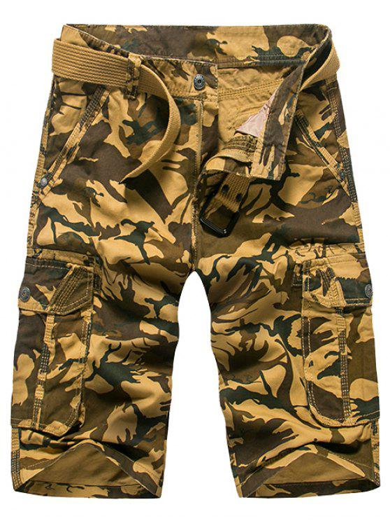Mode Loose Fit Men  's Camo Printed Cargo-Shorts - Khaki 32