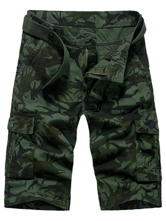 Moda Loose Fit Men  's Camo stampato Cargo Shorts - Verde Dell'esercito 29