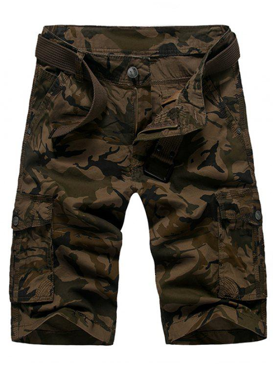 Moda Loose Fit Men  's Camo stampato Cargo Shorts - caffè 30