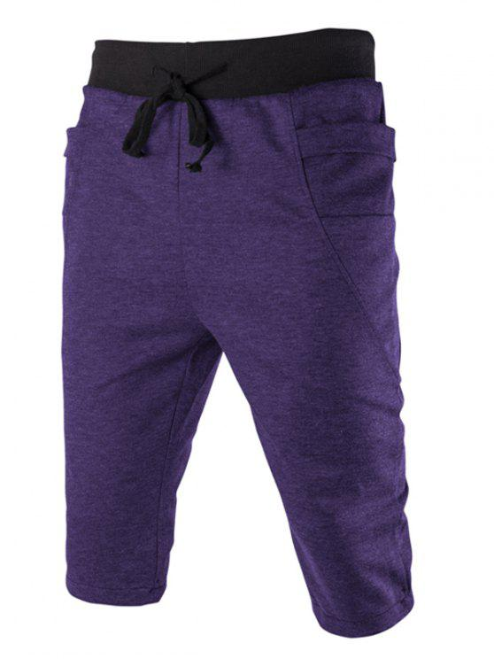 Color Block Vita laterale Pocket Lace-Up dimagranti Pantaloncini per gli uomini - viola L