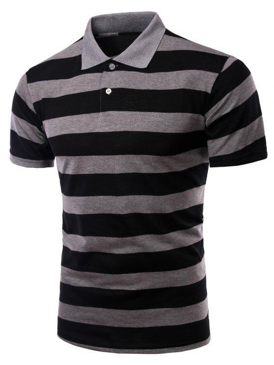 Stripes Turn-down-Kragen mit kurzen Ärmeln Polo-T-Shirt für Männer - Grau M