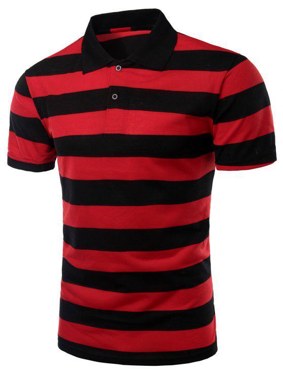 Stripes Turn-down-Kragen mit kurzen Ärmeln Polo-T-Shirt für Männer - Rot XL