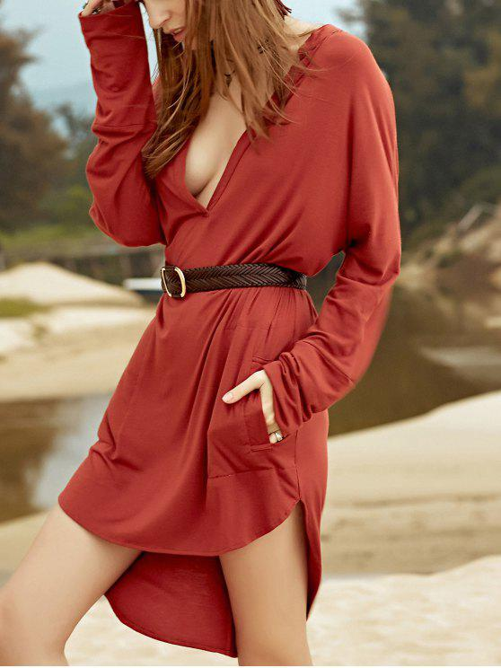 hot Low Cut Long Sleeve Plunge Dress - BROWN L