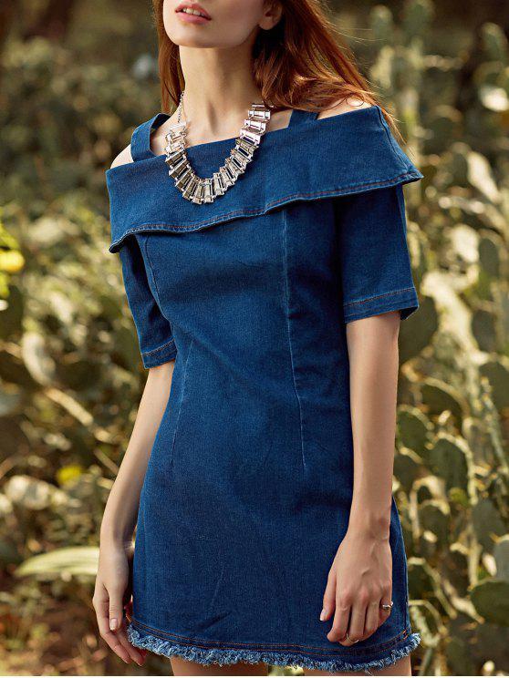 Volant Rüschen Straps halbe Hülsen Cold Shoulder-Kleid - Kadettenblau M