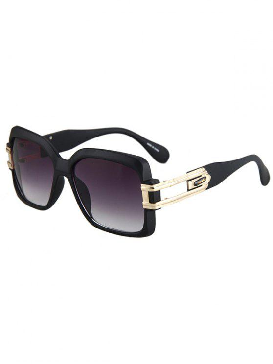 women's Hollow Alloy Matte Black Sunglasses - DEEP PURPLE