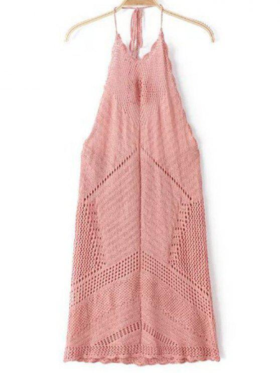 latest Backless Halter Solid Color Crocheted Dress - PINK M