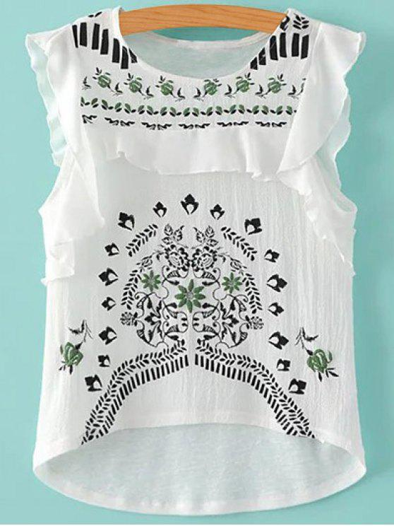 sale Flouncing Round Neck Embroidery Blouse - WHITE S