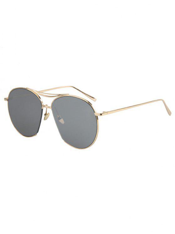 Irregular marco de oro gafas de aviador - Gris de Plata