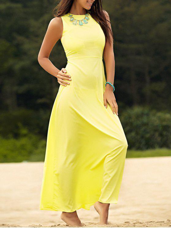 Maxi Vestido de Gasa sin Manga - Amarillo XL