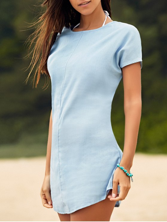 new Solid Color Tied Round Neck Bat-Wing Sleeve Denim Dress - LIGHT BLUE S