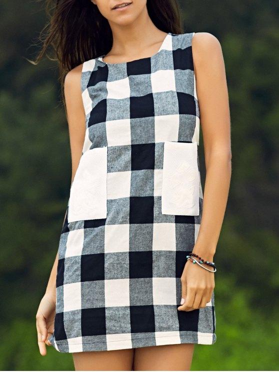 lady Sleeveless Plaid Shift Dress - WHITE AND BLACK XS