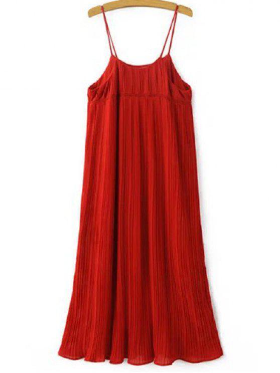 Robe Plissée à Bretelles à Taille Empire - Rouge Taille Unique(S'adap