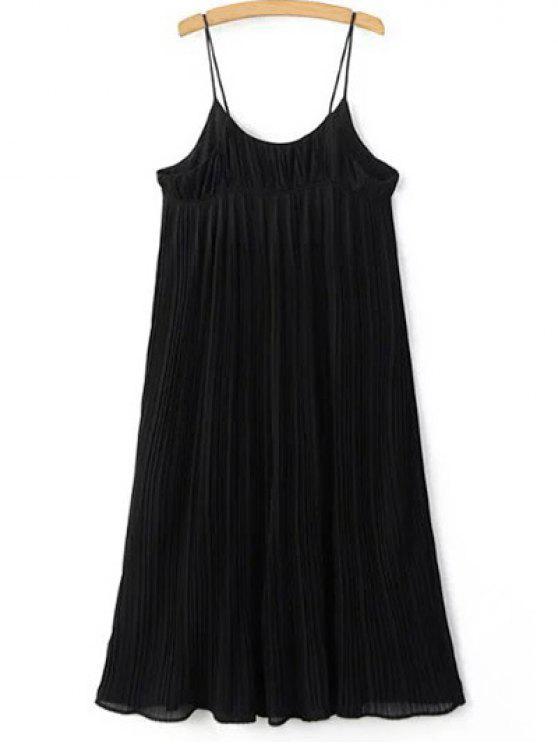 Plisada imperio vestido de la correa de la cintura - Negro Un tamaño(Montar tam