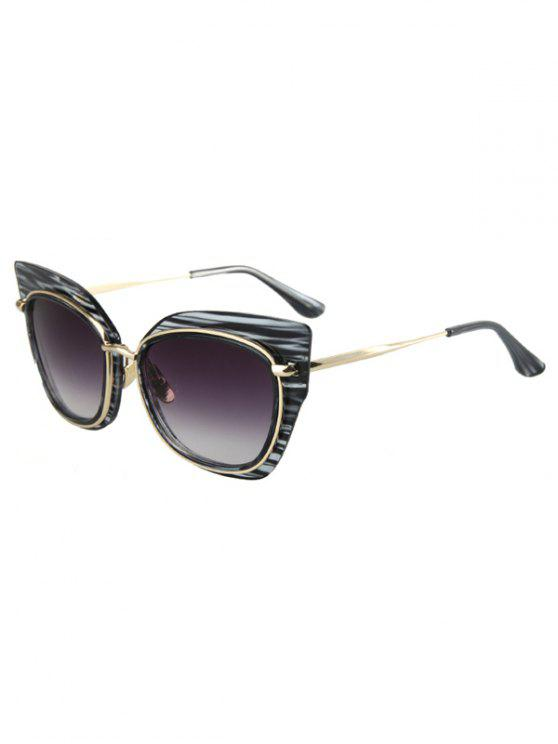 outfit Striped Cat Eye Frame Sunglasses - BLACK