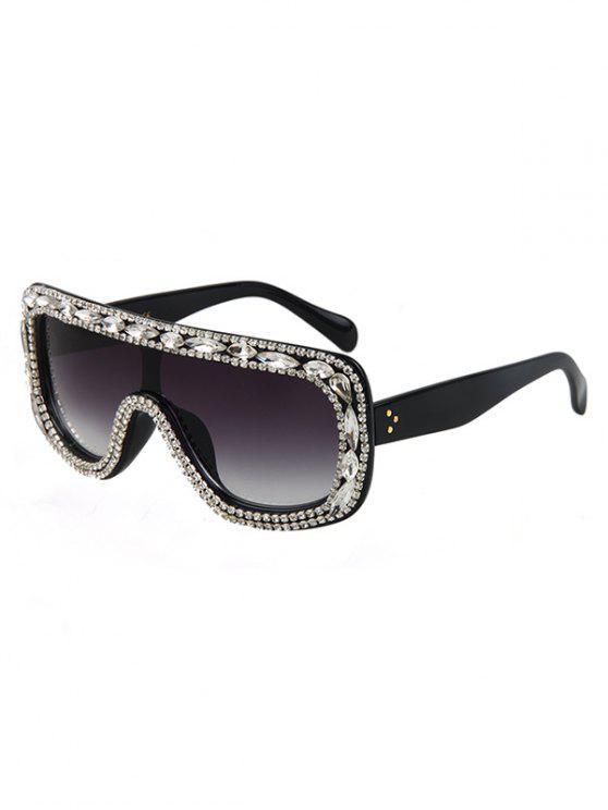 womens Rhinestone Black Shield Sunglasses - BLACK