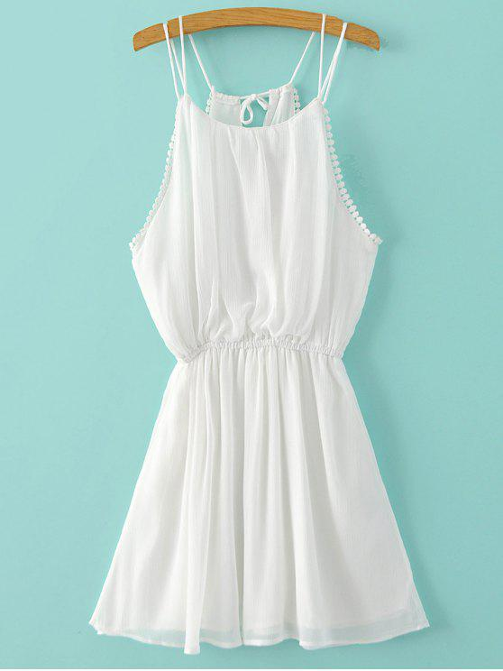 trendy Pure Color Cami Chiffon Dress - WHITE S