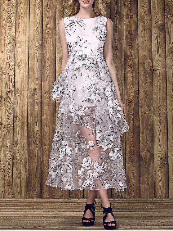 shop Stylish Boat Neck Flounce Design Sleeveless Dress For Women - WHITE S