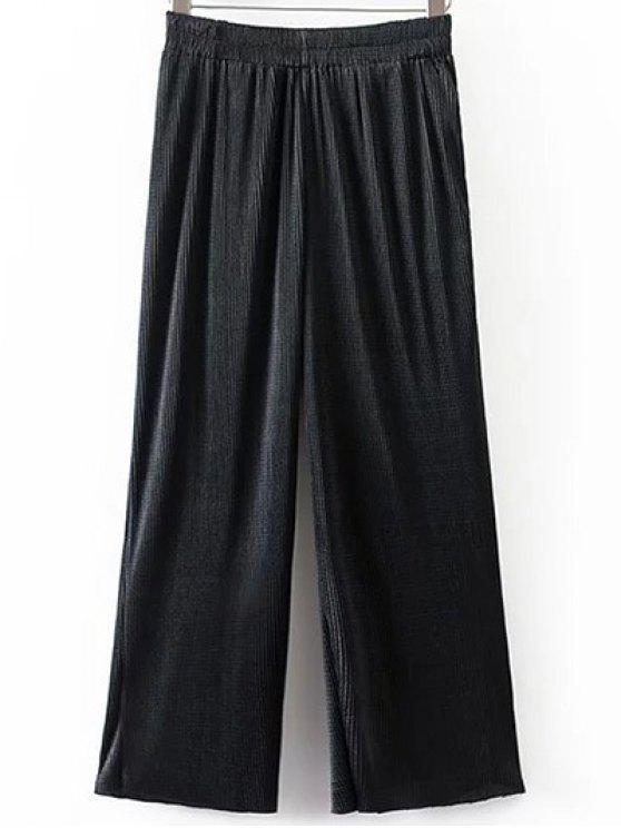 women Pleated Elastic Waist Wide Leg Pants - BLACK M