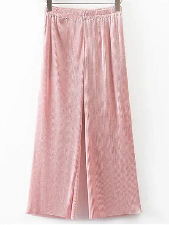 ladies Pleated Elastic Waist Wide Leg Pants - PINK M