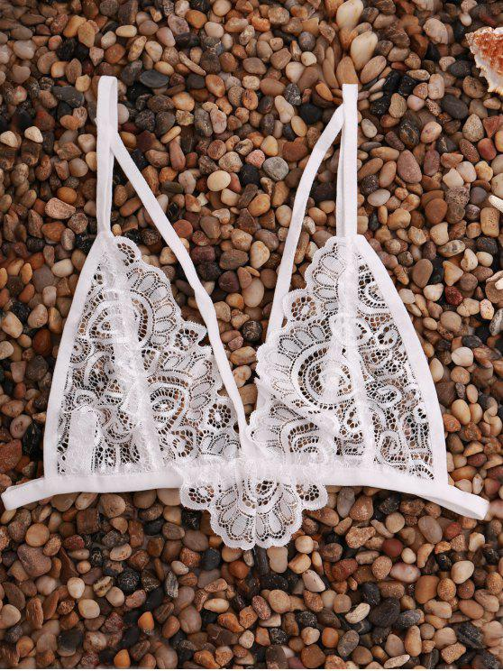 outfits Solid Color Spaghetti Straps Lace Lingeries Bra - WHITE M