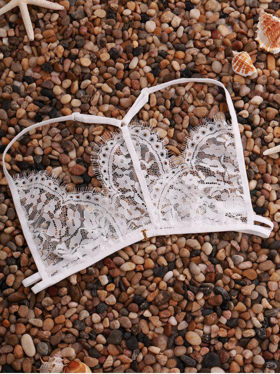 Dentelle Solid Color bretelles spaghetti lingeries Soutien-gorge - Blanc M