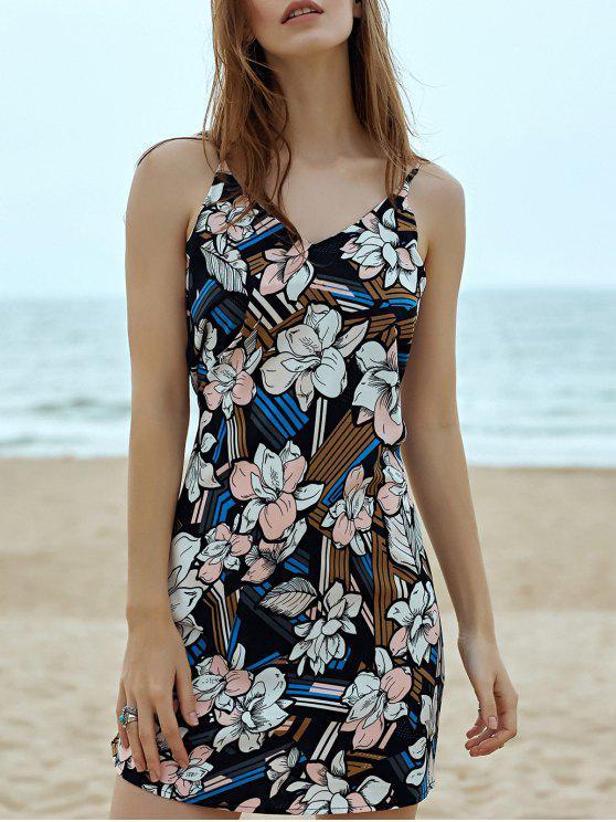 latest Floral Print Cami Sleeveless Dress - BLACK M