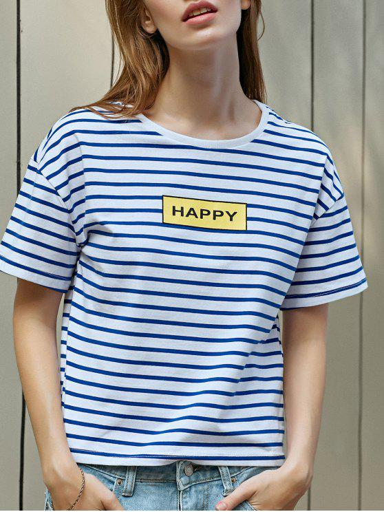 women's Striped Letter Print T-Shirt - BLUE AND WHITE S