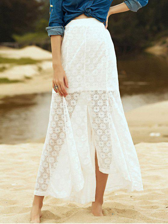 fancy High-Low Hem Solid Color Lace Spliced Skirt - WHITE L