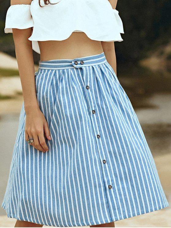 ladies A-Line Striped Single-Breasted Skirt - BLUE AND WHITE ONE SIZE(FIT SIZE XS TO M)