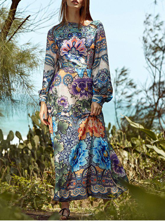 7ba4704a68e 35% OFF] 2019 Full Floral Round Neck Long Sleeve Maxi Dress In ...