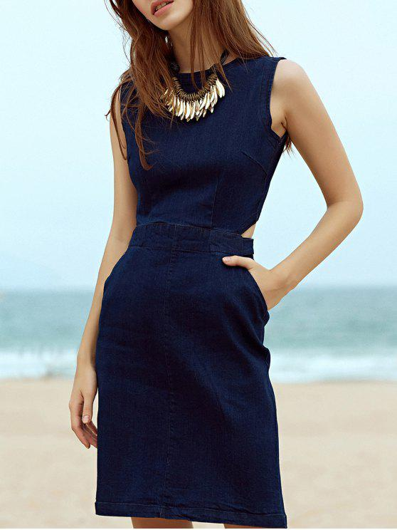 buy Blue Denim Round Neck Sleeveless Cut Out Dress - DEEP BLUE M