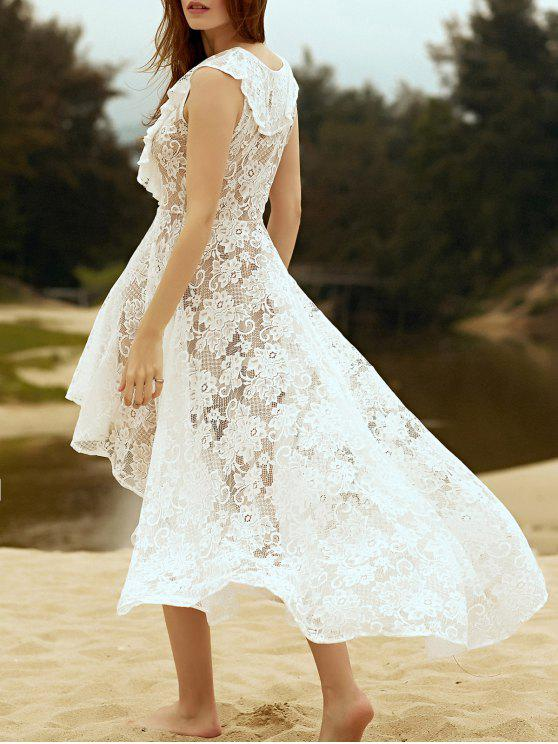hot High Low Hem Plunging Neck Lace Up Lace Dress - WHITE S