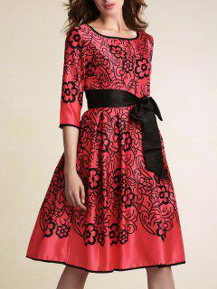 Belted Printed Round Neck 3/4 Sleeve Dress - Red M