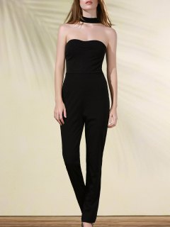 Cut Out Stand Neck Solid Color Jumpsuit - Black M
