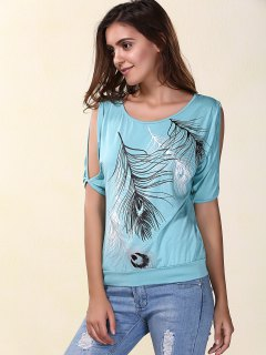 Stylish Scoop Neck Short Sleeves Cold Shoulder Printed T-Shirt For Women - Light Blue S