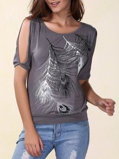 Stylish Scoop Neck Short Sleeves Cold Shoulder Printed T-Shirt For Women - Gray Xl