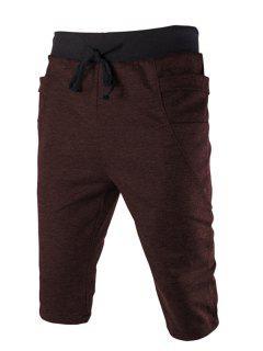 Del Bloque Del Color De La Cintura Bolsillo Lateral Con Cordones De Adelgaza Pantalones Cortos Para Los Hombres - Café Xl