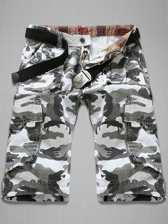 Trendy Loose Fit Men's Multi-Pockets Camo Printed Cargo Shorts - White 32