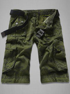 Fashion Loose Fit Men's Multi-Pockets Camo Printed Cargo Shorts - Army Green 32