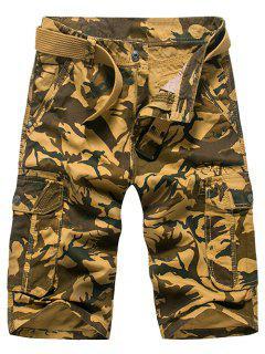 Fashion Loose Fit Men's Camo Printed Cargo Shorts - Khaki 29