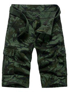 Fashion Loose Fit Men's Camo Printed Cargo Shorts - Army Green 29