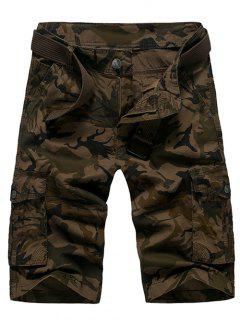 Fashion Loose Fit Men's Camo Printed Cargo Shorts - Coffee 30