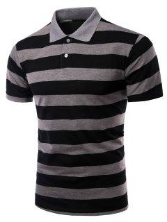 Striped Turn-down Collar Short Sleeves Polo Shirt For Men - Gray Xl