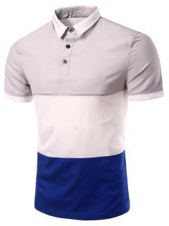 Stylish Stripes Turn-down Collar Color Block  Short Sleeves Polo T-Shirt For Men - Gray M
